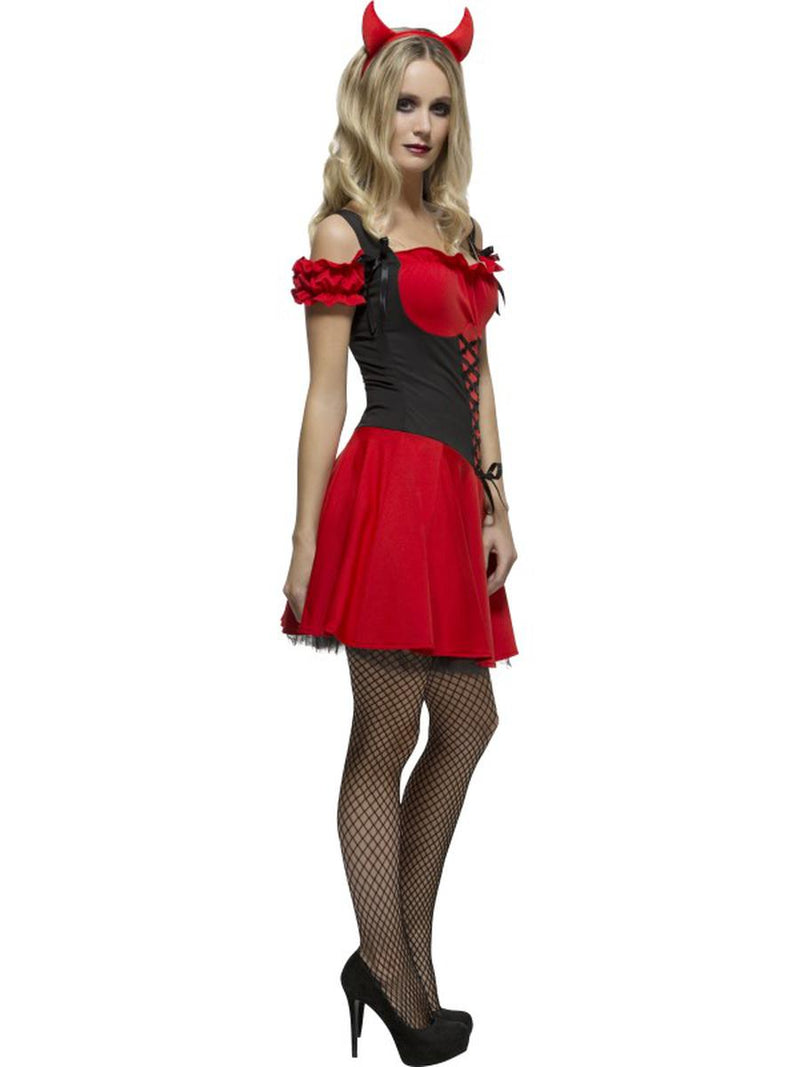 2 PC Women's Devil Demon Red Lace Up Dress w/ Horns Party Costume - Fest Threads