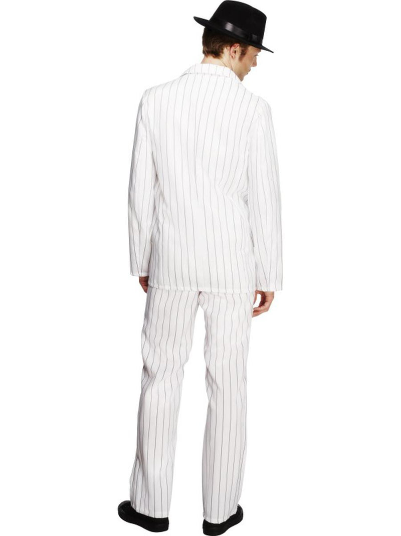 3 PC Men's Mafia Gangster Mobster White Pinstripe Jacket & Pants w/ Tie Costume - Fest Threads
