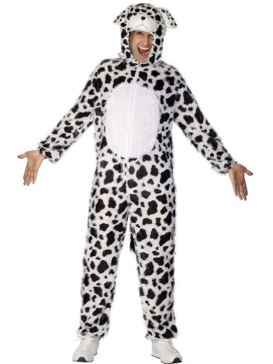 2-PC-Unisex-Pet-Dalmatian-Spotted-Bodysuit-&-Open-Hood-Party-Costume