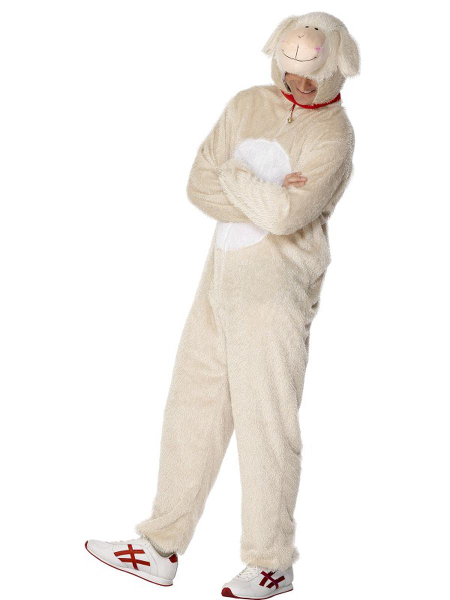2-PC-Unisex-Lamb-Bodysuit-&-Open-Hood-Party-Costume