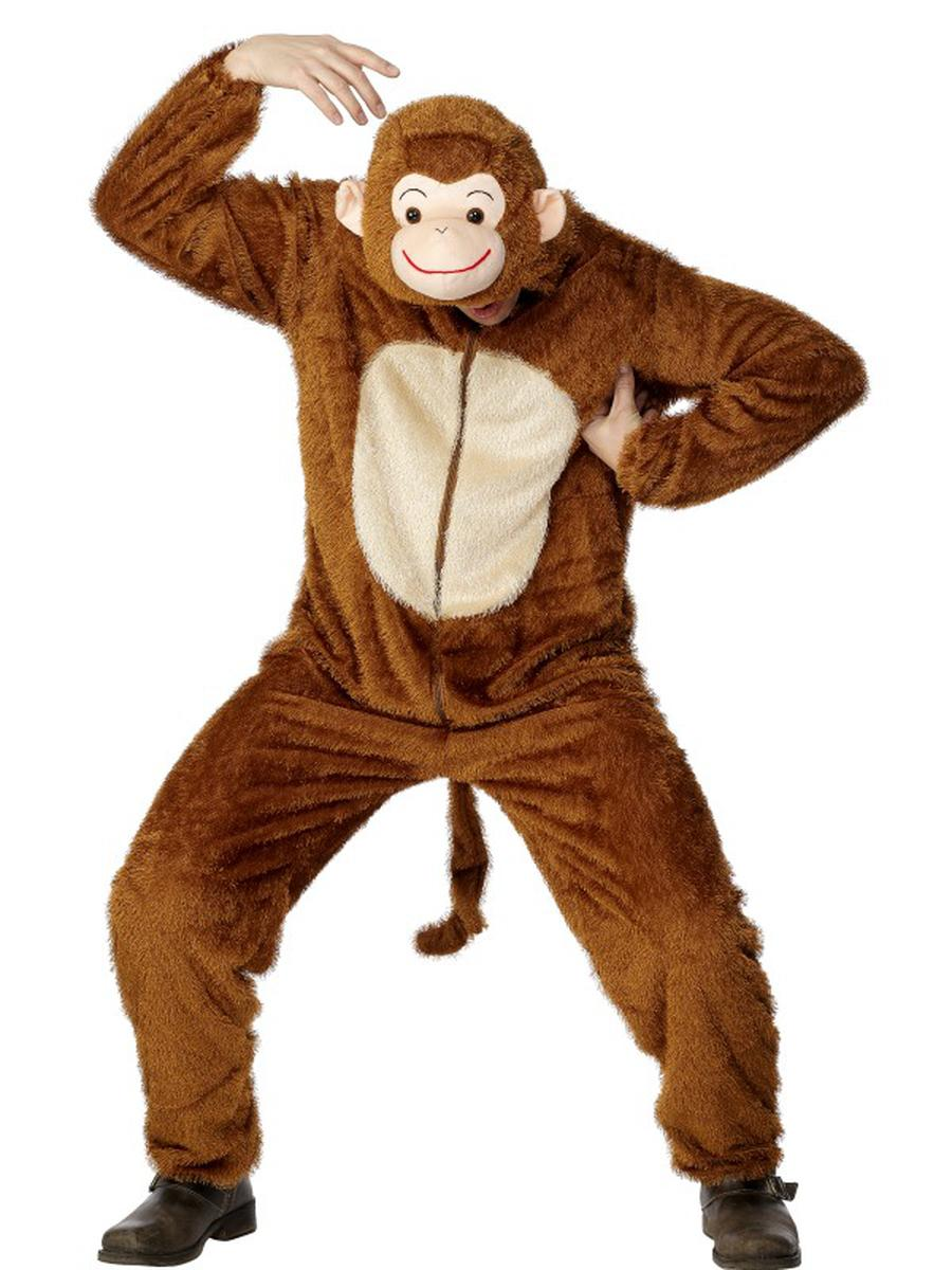 2-PC-Unisex-Monkey-Chimp-Bodysuit-&-Open-Hood-Party-Costume