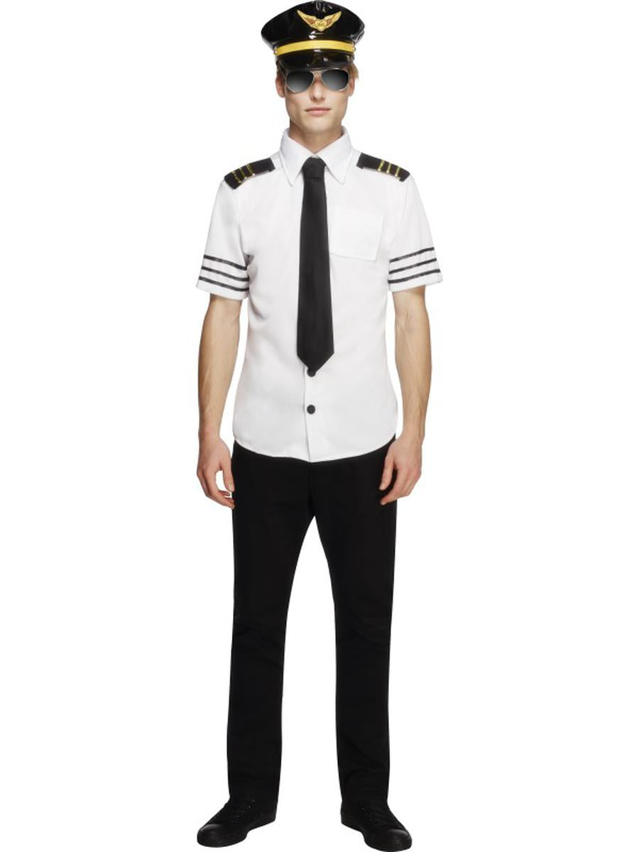 3-PC-Men's-Airplane-Airline-Commercial-Pilot-Shirt-w/-Hat-&-Tie-Party-Costume