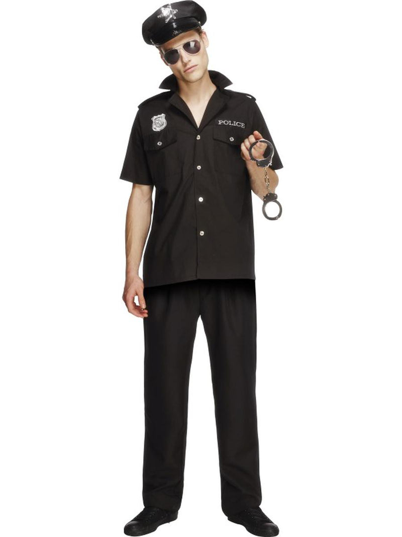 3-PC-Men's-Police-Officier-Cop-Button-up-Shirt-&-Pants-w/-Hat-Party-Costume