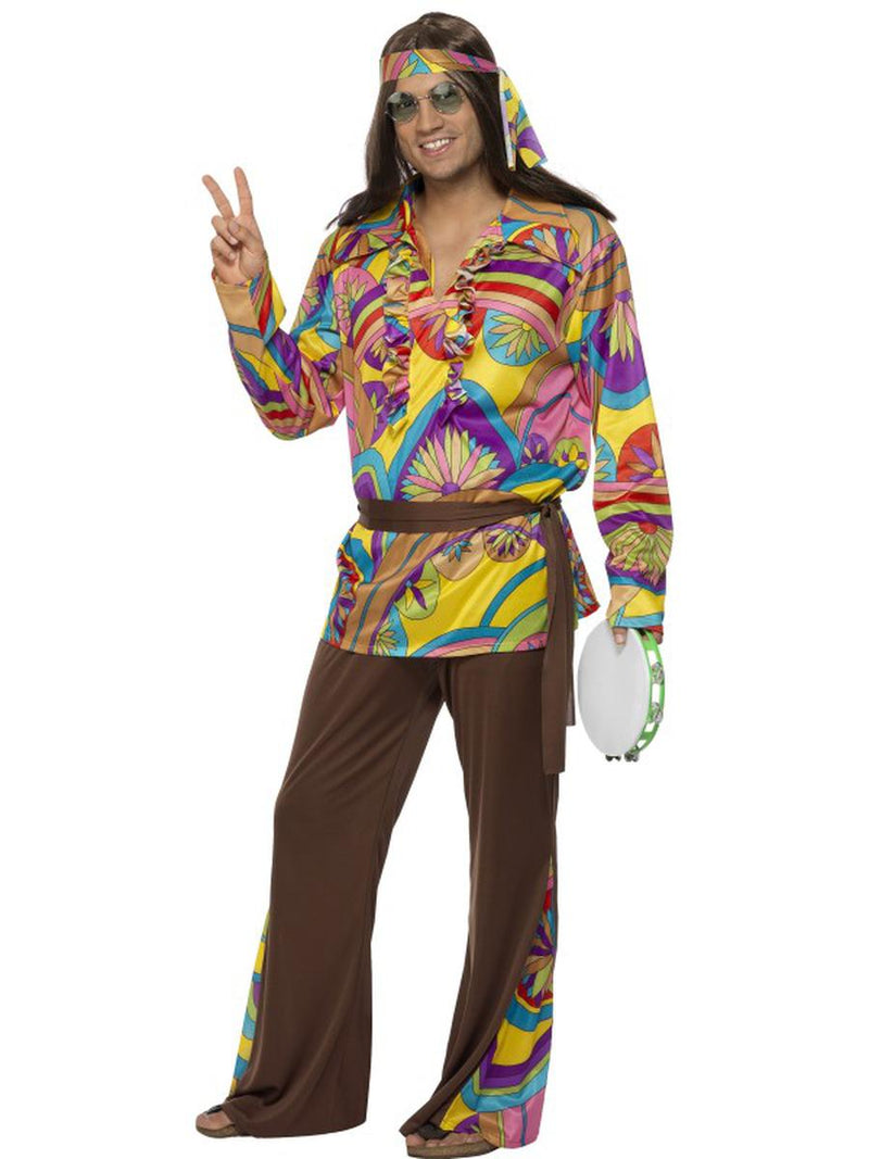4-PC-Hippie-Groovy-Guy-Psychedelic-Shirt-&-Pants-w/-Accessories-Party-Costume