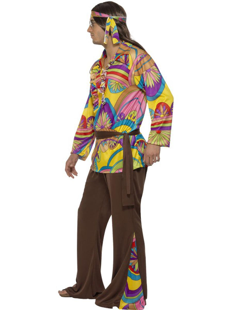4 PC Hippie Groovy Guy Psychedelic Shirt & Pants w/ Accessories Party Costume - Fest Threads