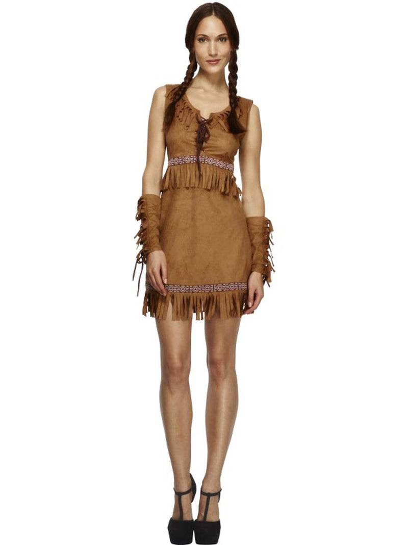 3-PC-Native-American-Indian-Pocahontas-Tan-Fringe-Dress-w/-Arm-Cuffs-Costume