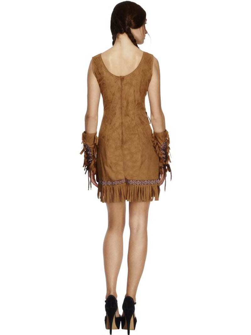 3 PC Native American Indian Pocahontas Tan Fringe Dress w/ Arm Cuffs Costume - Fest Threads