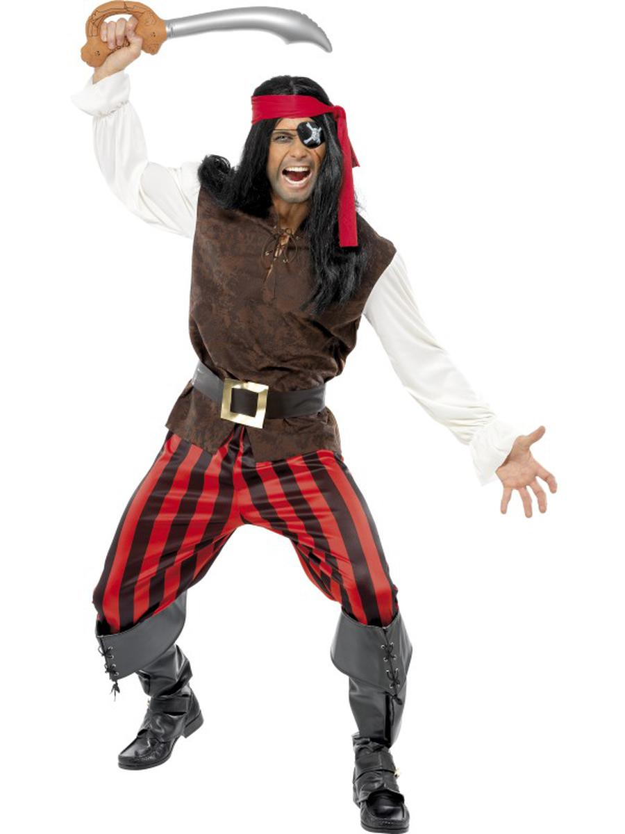 4-PC-Caribbean-Pirate-Ship-Mate-Top-&-Pants-w/-Accessories-Party-Costume