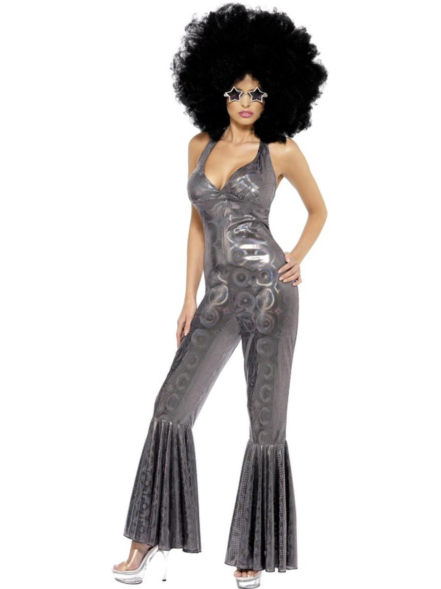 1-PC-Disco-Diva-Foxy-Lady-Retro-Silver-Holographic-Flared-Jumpsuit-Party-Costume
