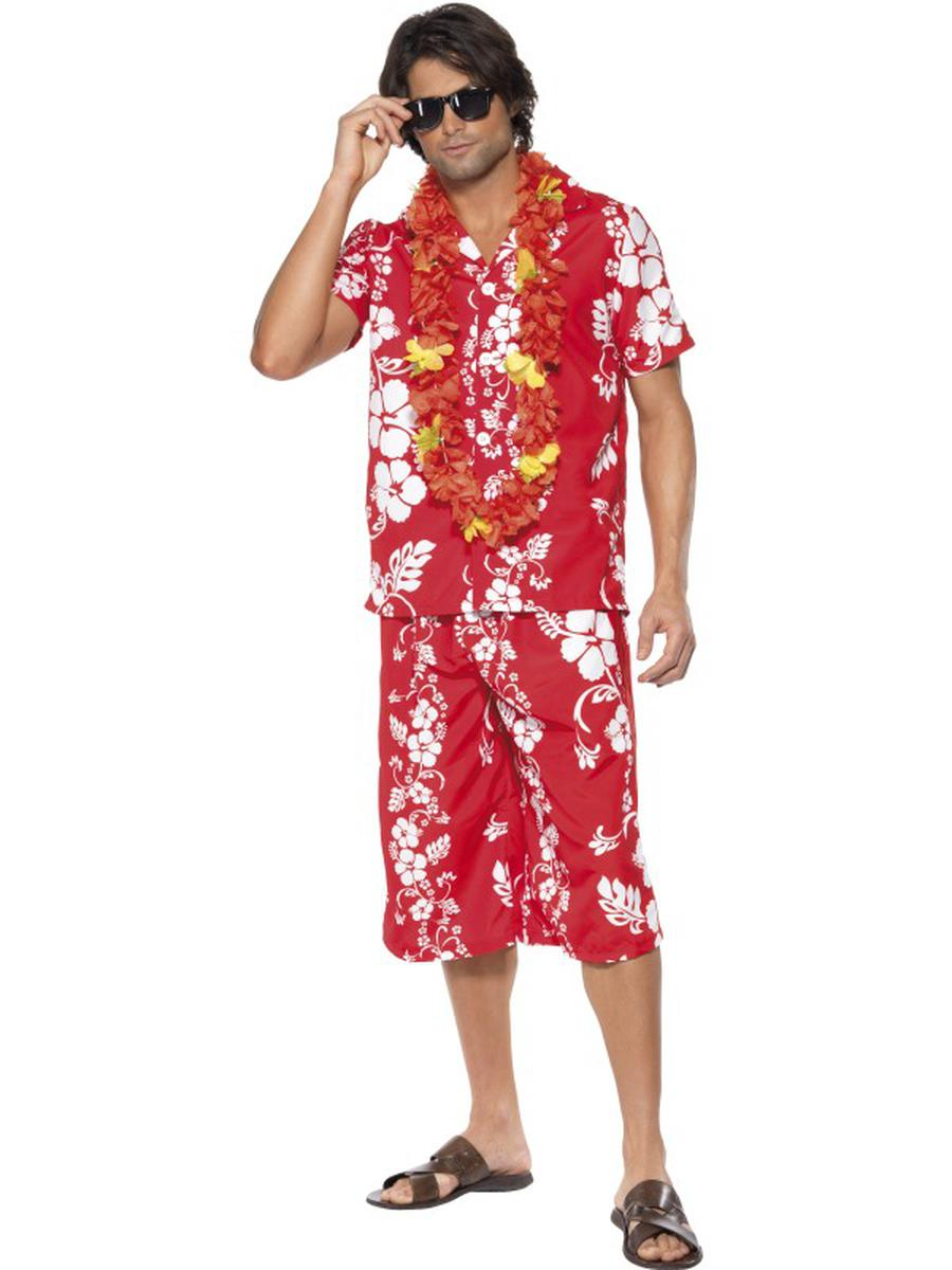 2-PC-Men's-Hawaiian-Luau-Tourist-Surfer-Dude-Tropical-Shirt-&-Shorts-Costume