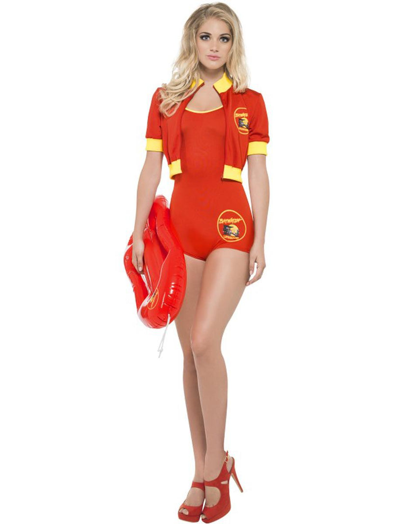 3-PC-Baywatch-Lifeguard-Red-Bodysuit-&-Jacket-w/-Floater-Party-Costume