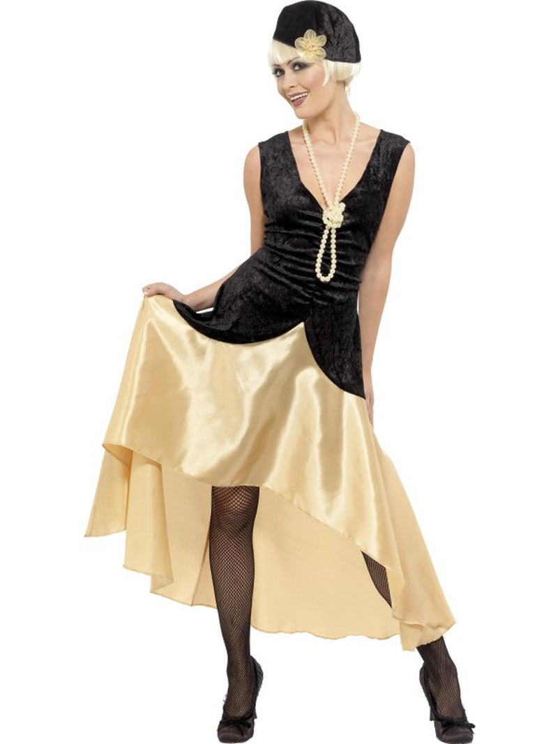 3-PC-1920s-Gatsby-Girl-Black-&-Gold-High-Low-Dress-w/-Accessories-Party-Costume-