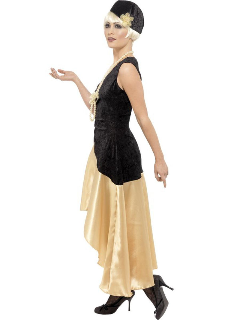 3 PC 1920s Gatsby Girl Black & Gold High Low Dress w/ Accessories Party Costume - Fest Threads