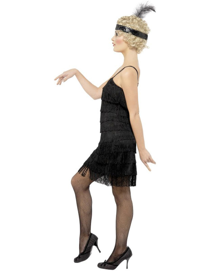 2 PC 1920s Flapper Gatsby Girl Black Fringe Dress w/ Headpiece Party Costume - Fest Threads