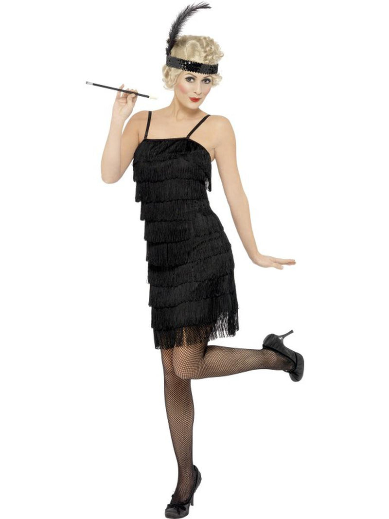 2-PC-1920s-Flapper-Gatsby-Girl-Black-Fringe-Dress-w/-Headpiece-Party-Costume-