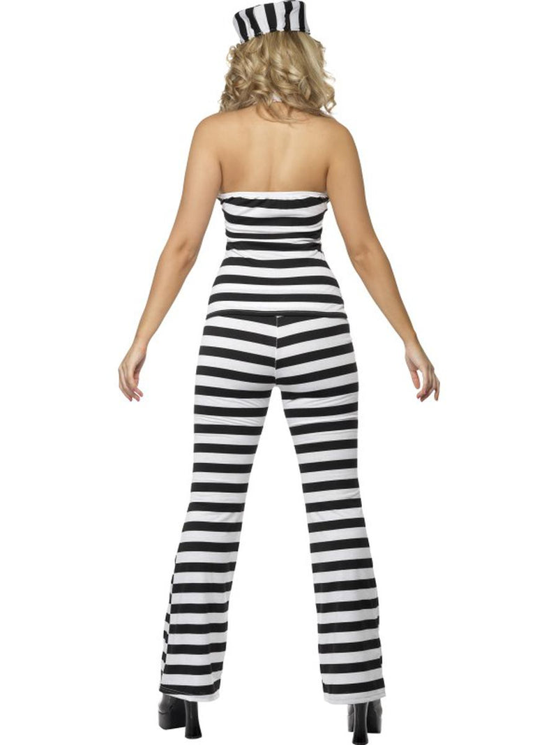 3 PC Criminal Jail Bird Prisoner Convict Striped Top & Pants w/ Hat Costume - Fest Threads
