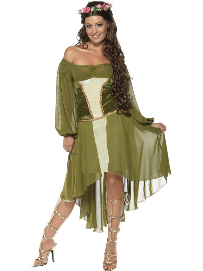 2-PC-Women's-Woodland-Magical-Fairy-Green-Dress-&-Hair-Wreath-Party-Costume