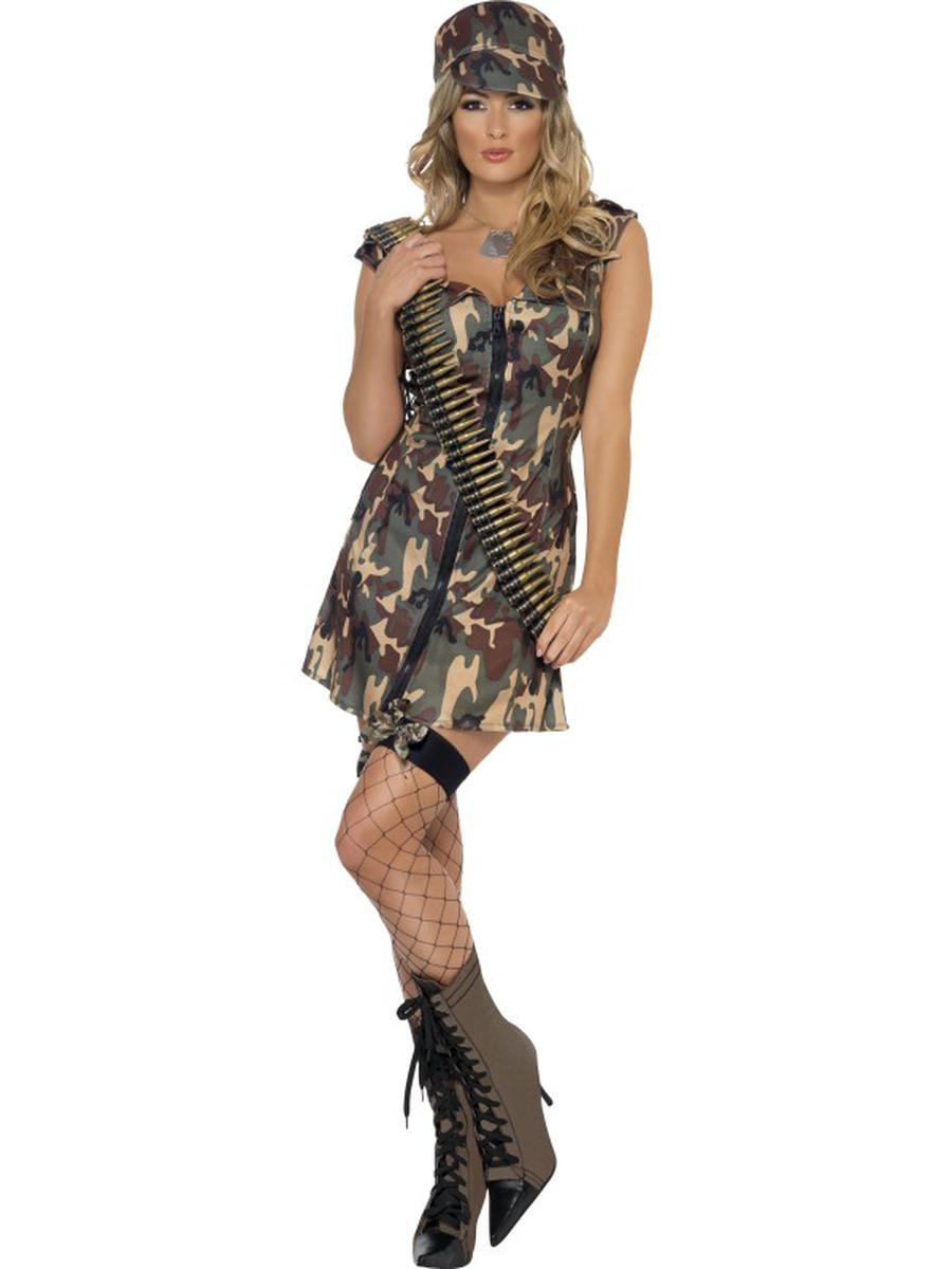 2-PC-Women's-Army-Military-Lady-Dark-Camouflage-Dress-w/-Hat-Party-Costume