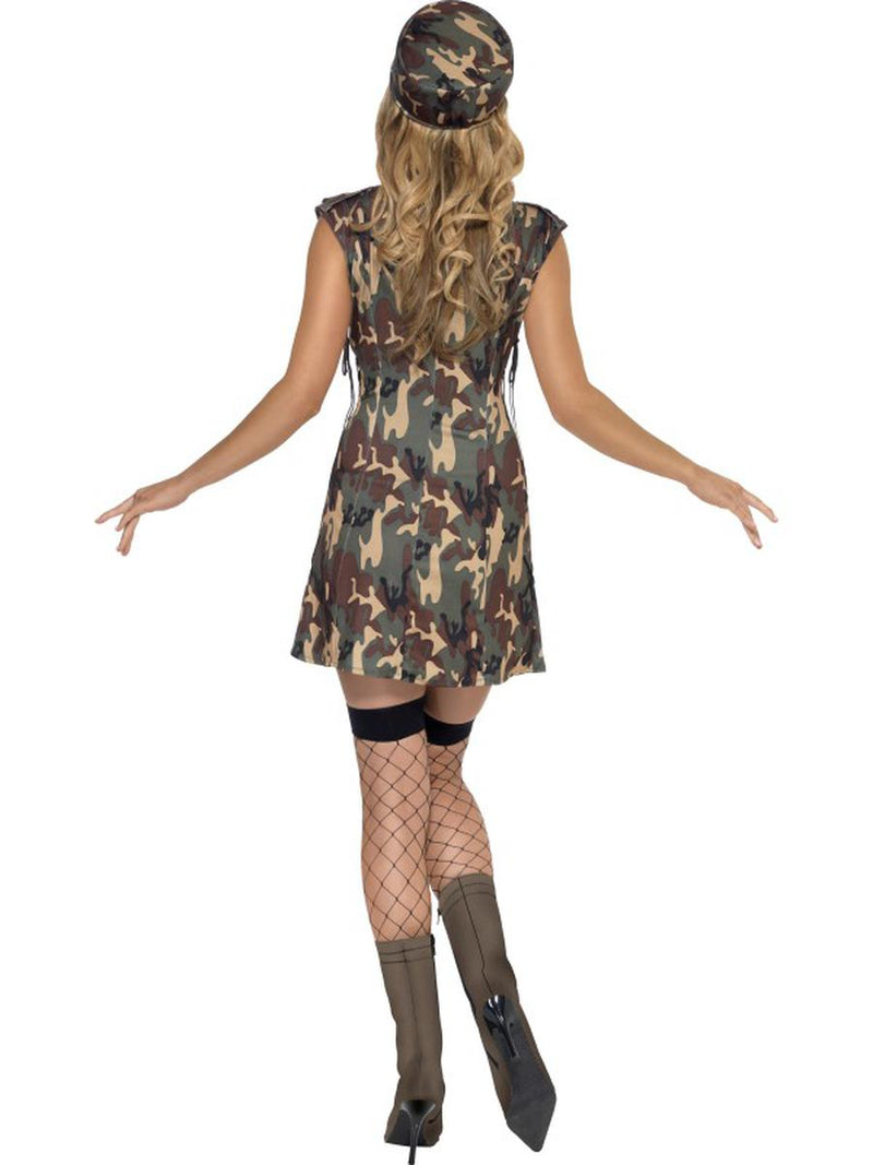 2 PC Women's Army Military Lady Dark Camouflage Dress w/ Hat Party Costume - Fest Threads