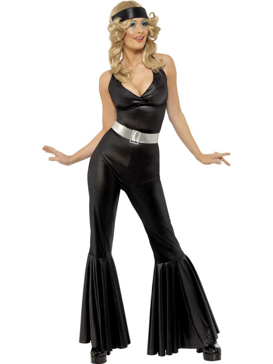 3-PC-Women's-70s-Disco-Diva-Black-Jumpsuit-w/-Headscarf-&-Belt-Party-Costume