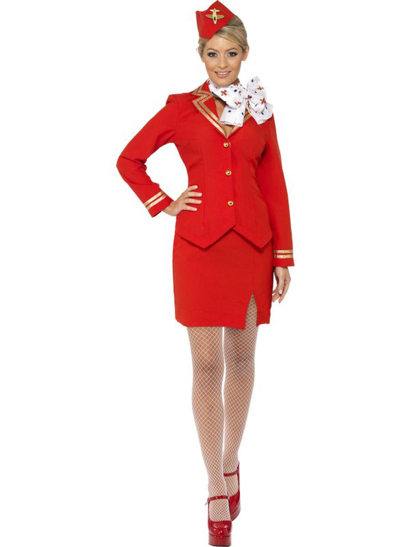 4-PC-Airline-Steward-Flight-Attendant-Red-Jacket-&-Skirt-w/-Accessories-Costume