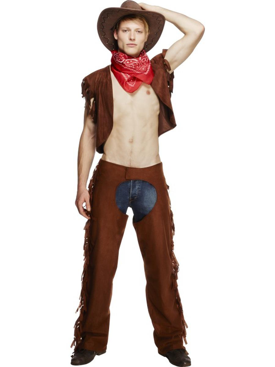 3-PC-Men's-Sexy-Western-Cowboy-Vest-&-Chaps-w/-Scarf-Party-Costume