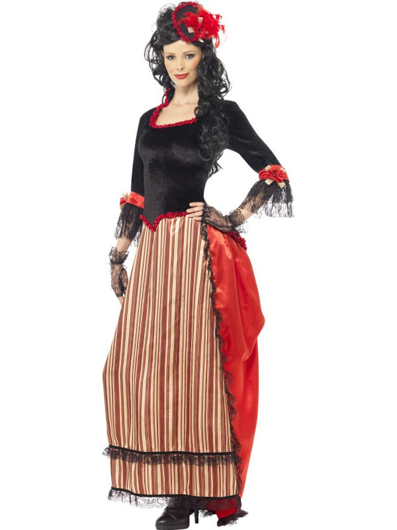 2-PC-Wild-Western-Saloon-Gal-Red-&-Black-Dress-w/-Hat-Party-Costume