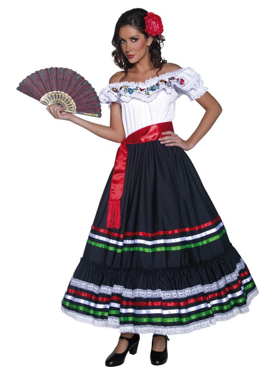 2-PC-Authentic-Western-Mexican-Bandit-Dress-&-Sash-w/-Accessories-Party-Costume