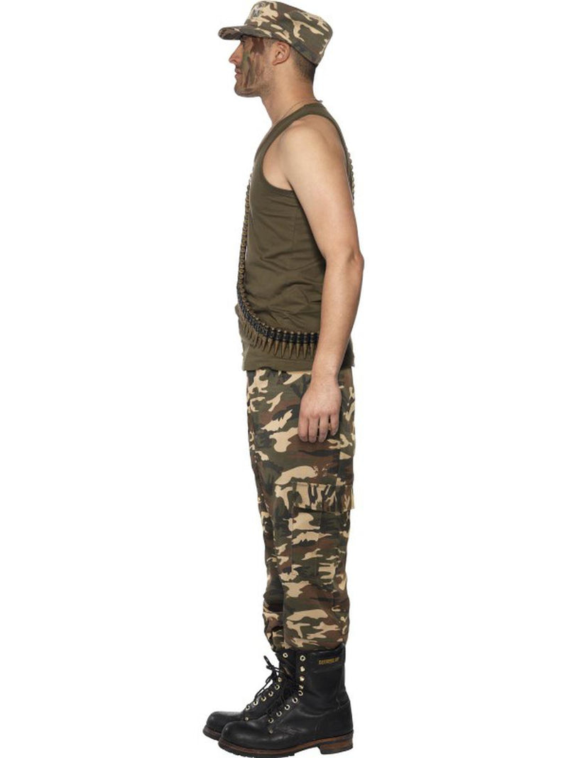 2 PC Military Army Man Green Sleeveless Tank Top & Camo Trousers Party Costume - Fest Threads