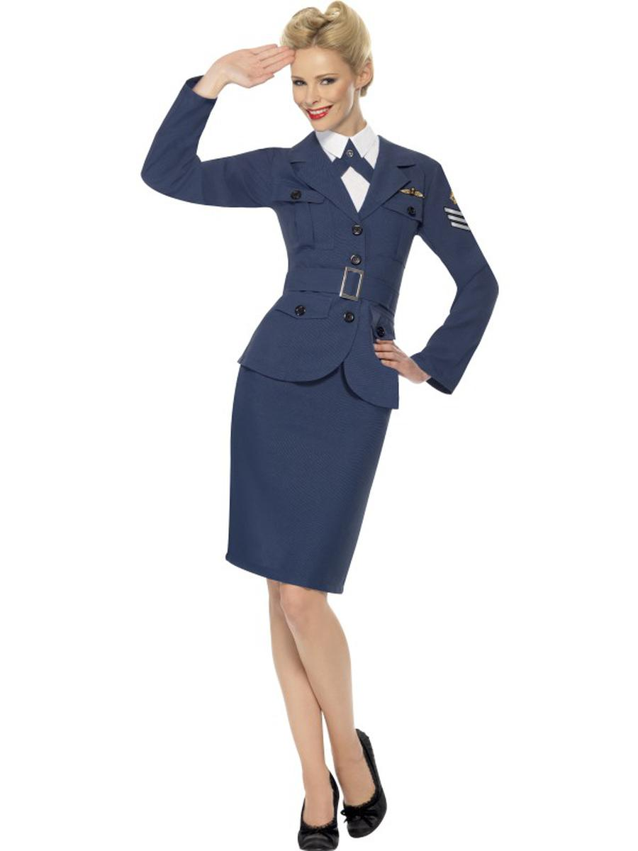 4-PC-Women's-WWII-Air-Force-Military-Jacket-&-Skirt-w/-Accessories-Party-Costume