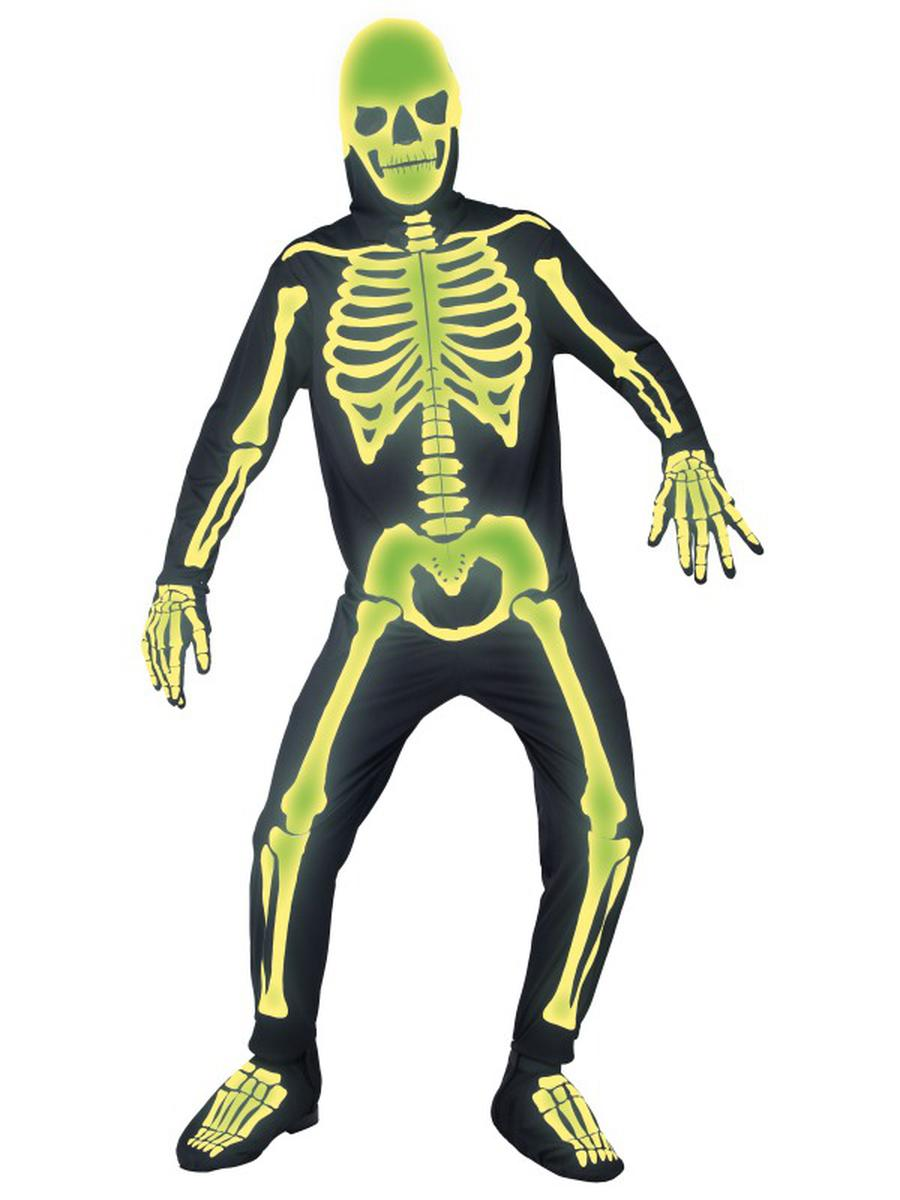 5-PC-Unisex-Glow-in-the-Dark-Skeleton-Jumpsuit-w/-Hood-&-Bootcovers-Costume
