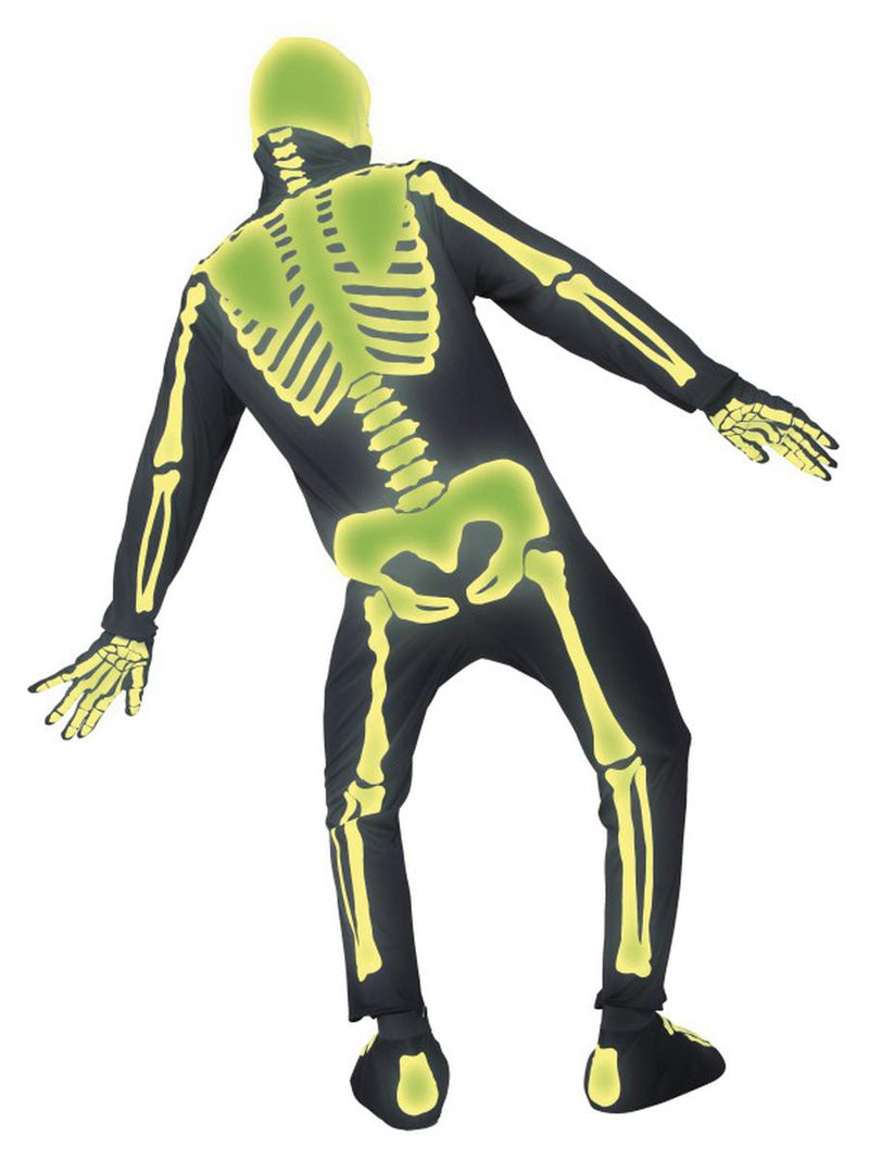5 PC Unisex Glow in the Dark Skeleton Jumpsuit w/ Hood & Bootcovers Costume - Fest Threads