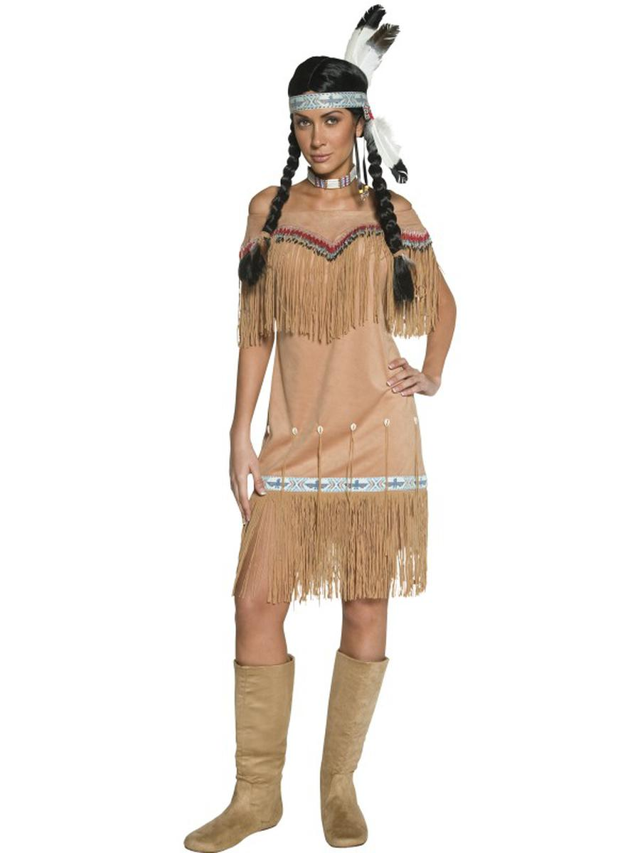 1-PC-Women's-Native-American-Indian-Lady-Tan-Fringe-Midi-Dress-Party-Costume
