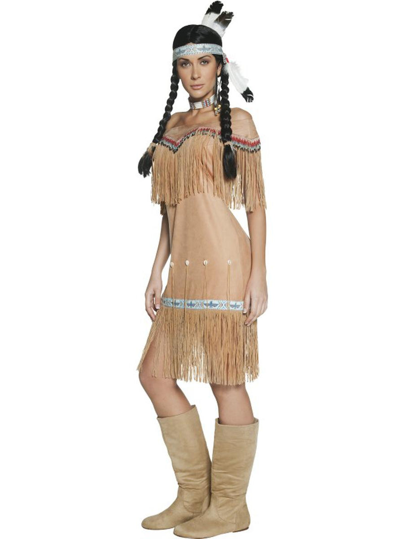 1 PC Women's Native American Indian Lady Tan Fringe Midi Dress Party Costume - Fest Threads