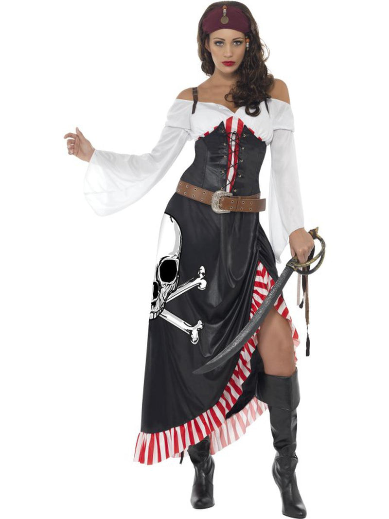 3-PC-Pirate-Lady-Top-&-Skull-Cross-Bone-Print-Skirt-w/-Belt-Party-Costume