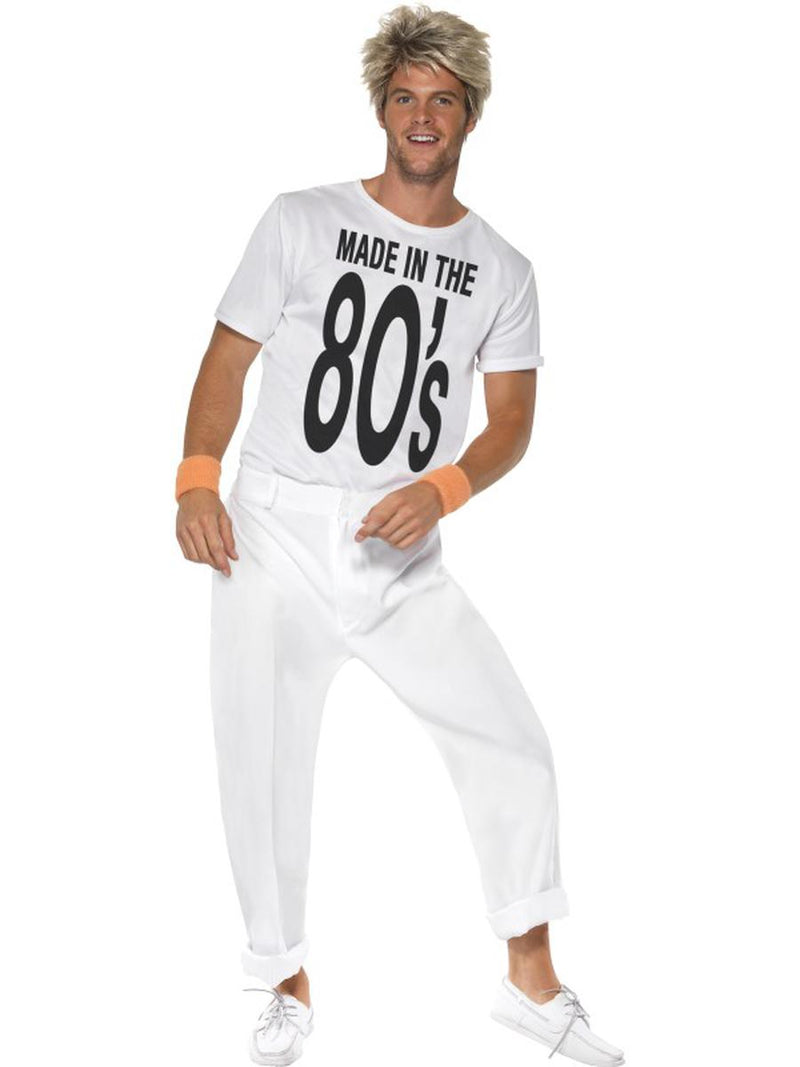 2-PC-Men's-Made-in-the-80s-White-Graphic-T-Shirt-&-Pants-Party-Costume