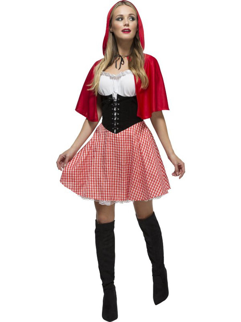 2-PC-Women's-Little-Red-Riding-Hood-Gingham-Dress-&-Hooded-Cape-Party-Costume
