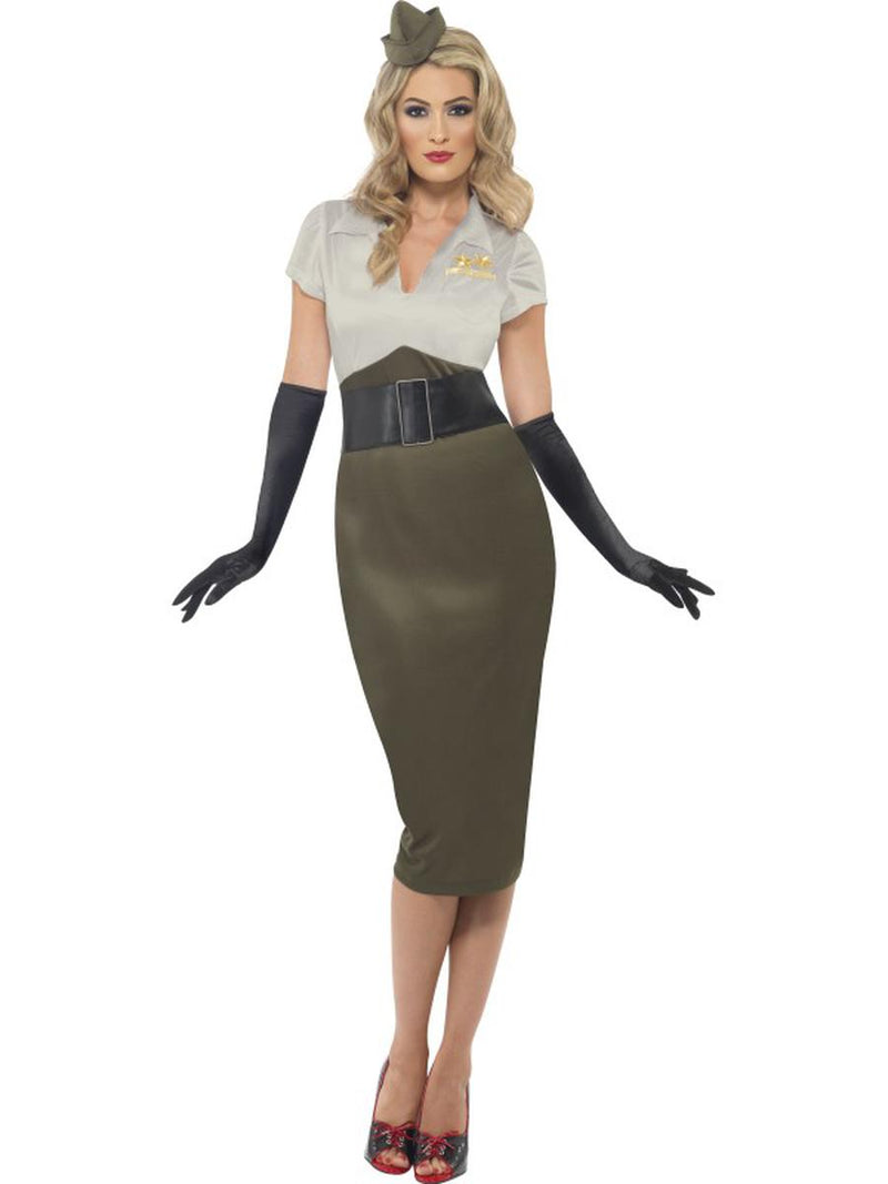 2-PC-Women's-Army-Military-Pin-Up-Lady-Pencil-Dress-w/-Hat-Party-Costume