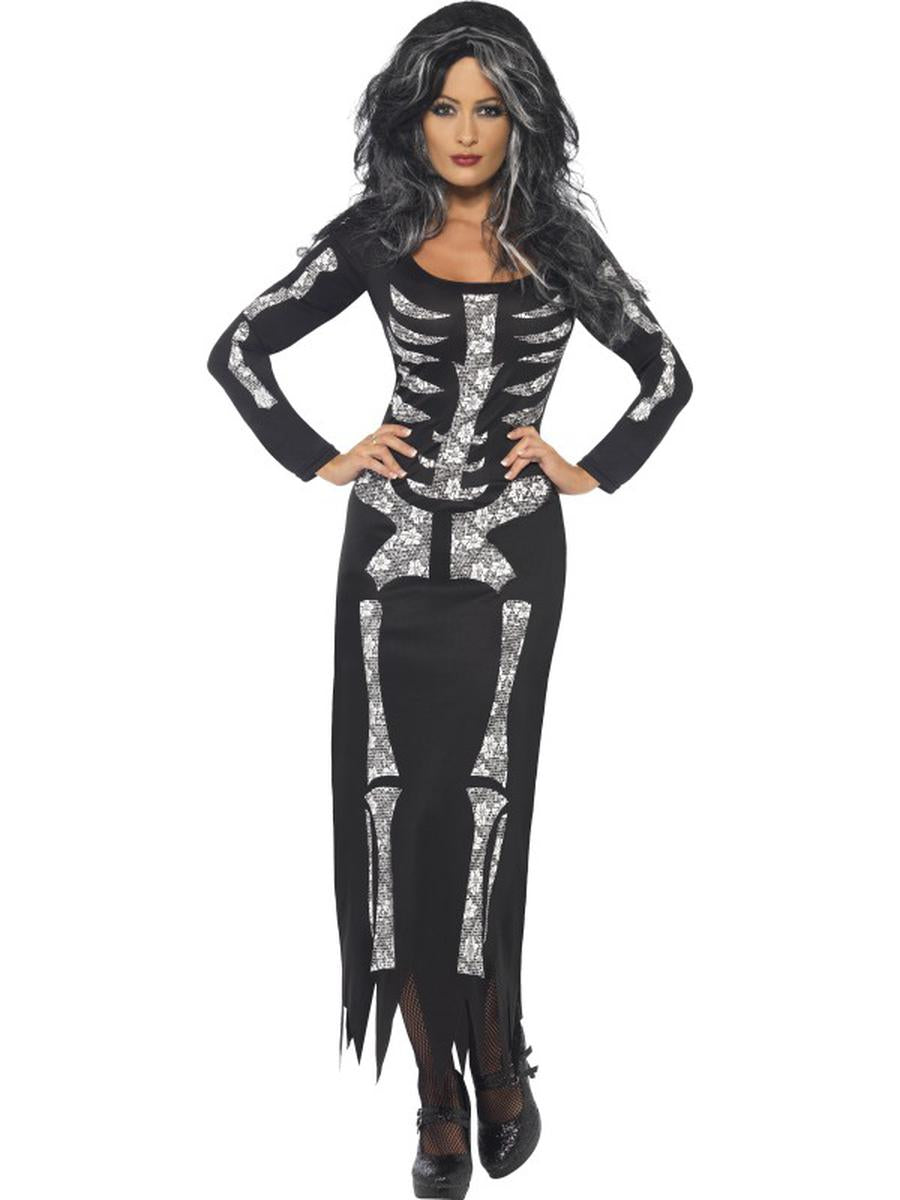 1-PC-Skeleton-Sugar-Skull-Day-of-the-Dead-Black-Shimmery-Dress-Party-Costume