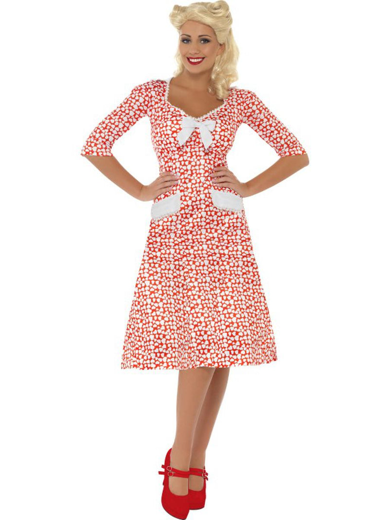 1-PC-Women's-WWII-Sweetheart-Military-Girlfriend-Wife-Red-&-White-Dress-Costume
