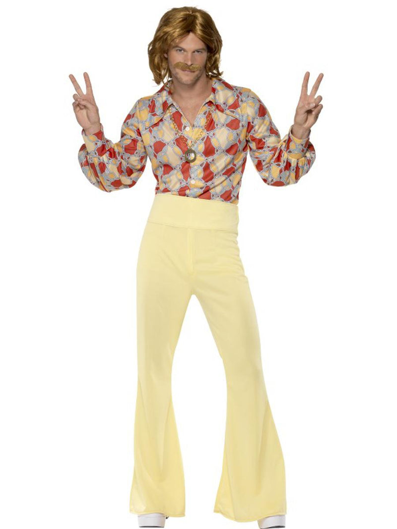 2-PC-Men's-Hippie-Groovy-Guy-Abstract-Shirt-&-Yellow-Flared-Pants-Party-Costume