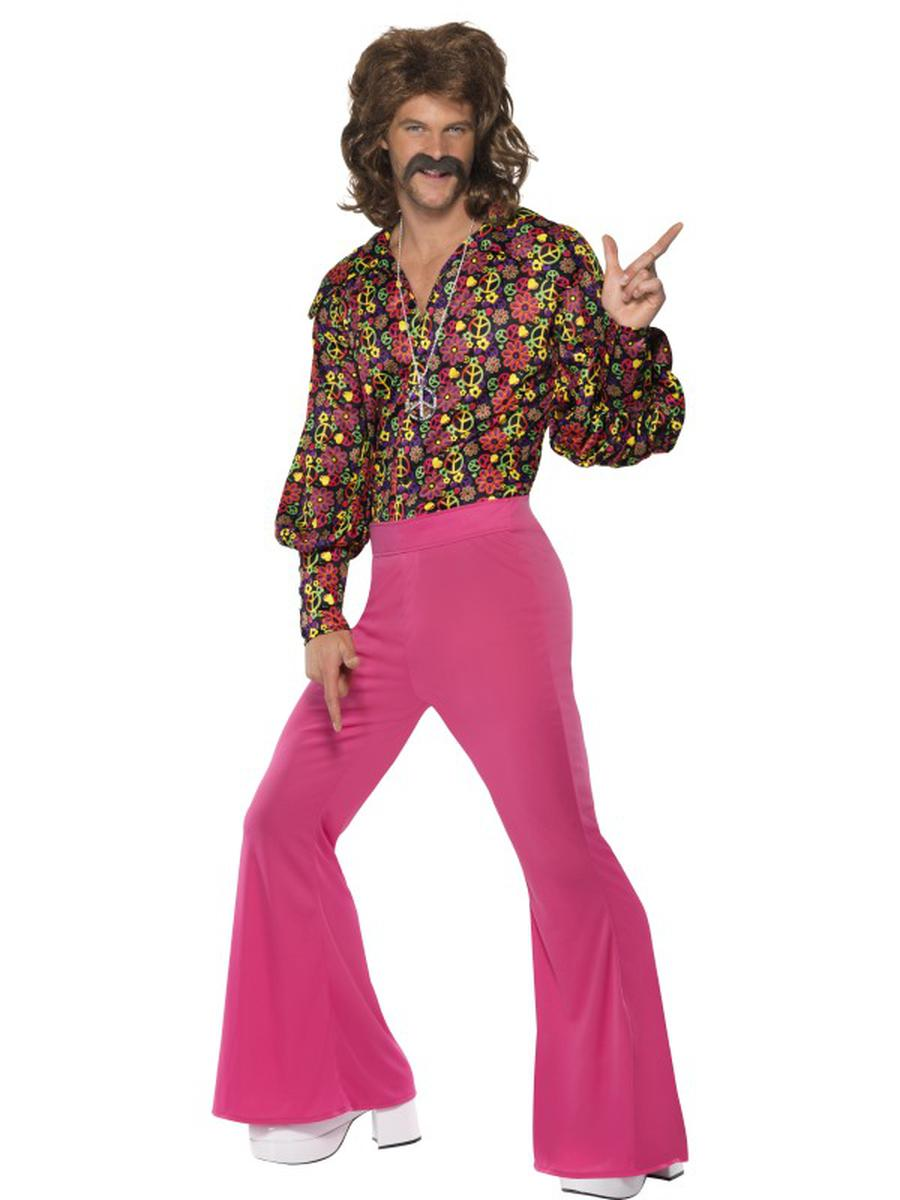 2-PC-Men's-Hippie-Groovy-Guy-Flower-Shirt-&-Pink-Flared-Pants-Party-Costume