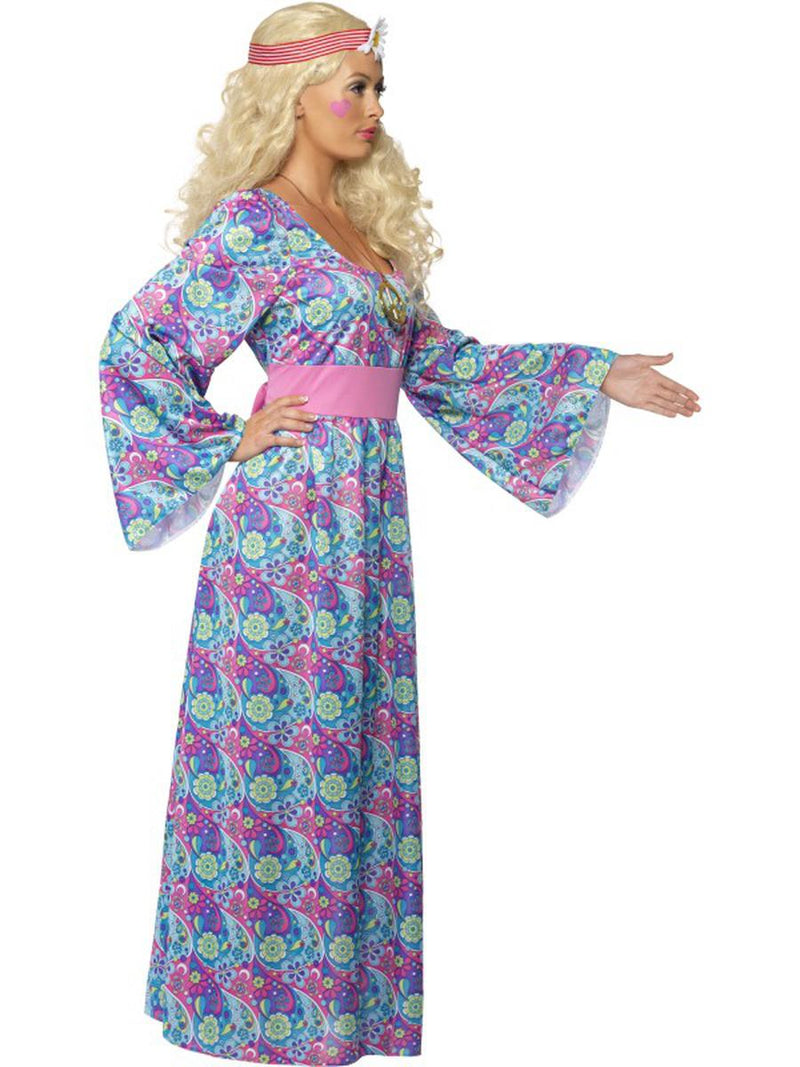 1 PC Woodstock Hippie Flower Child Purple Maxi Bell Sleeve Dress Party Costume - Fest Threads