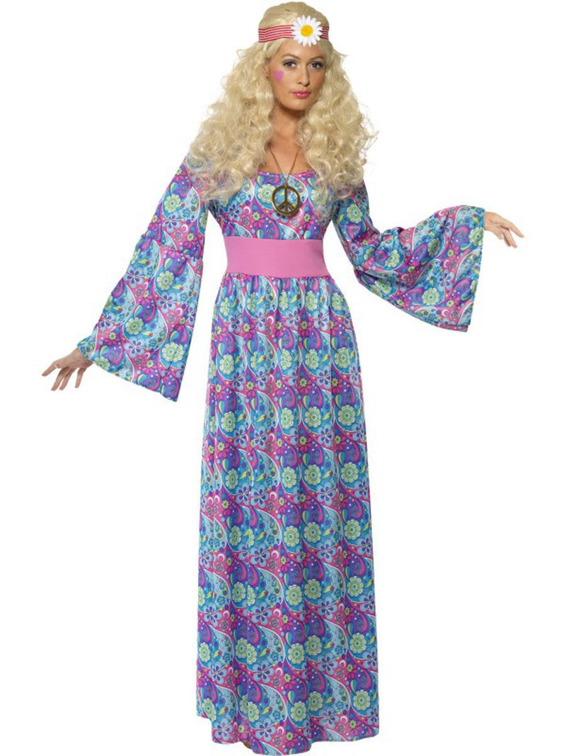 1-PC-Woodstock-Hippie-Flower-Child-Purple-Maxi-Bell-Sleeve-Dress-Party-Costume