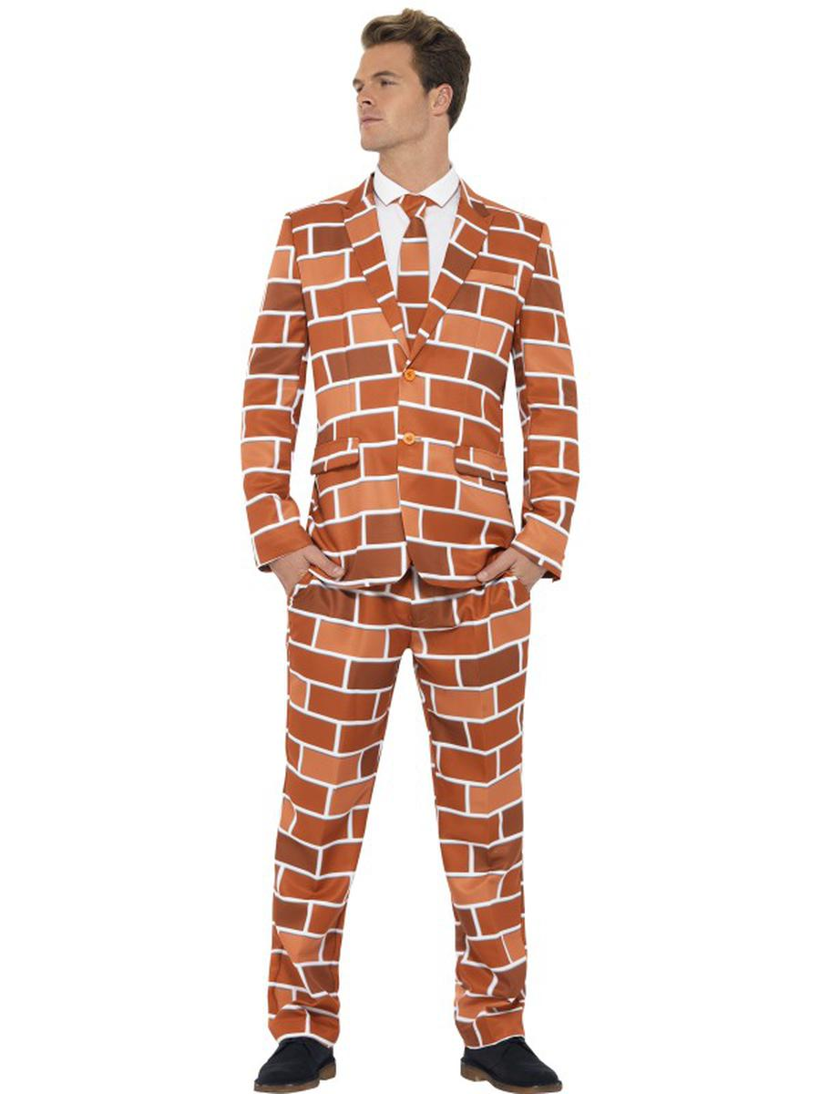 3-PC-Men's-Brick-Wall-Suit-Jacket-&-Pants-w/-Tie-Party-Costume