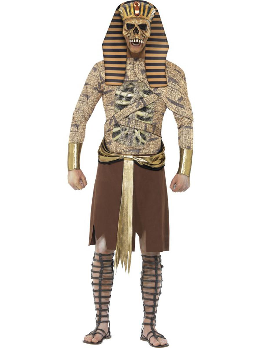 4-PC-Men's-Zombie-Egyptian-Pharaoh-Tabard-&-Headpiece-w/-Arm-Cuffs-Party-Costume