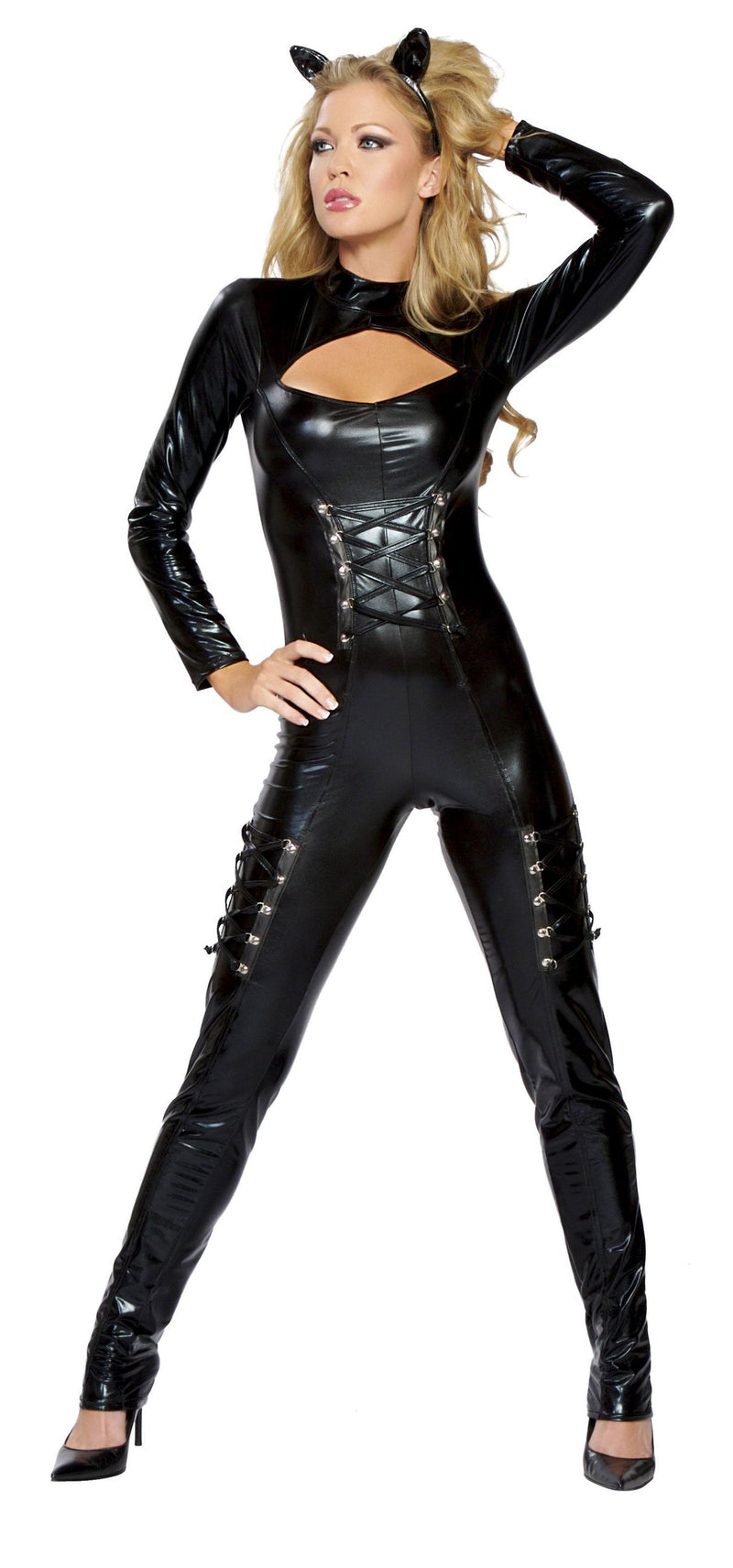 2-Piece-Cat-Feline-Vixen-Dominatrix-Long-Sleeve-Jumpsuit-Party-Costume