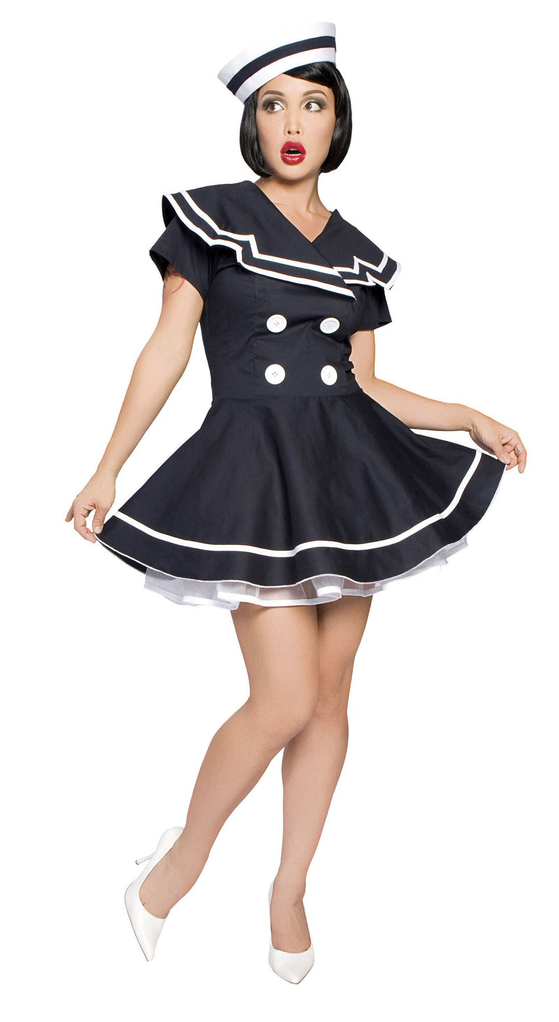 2-Piece-Sailor-Captain-Navy-Blue-&-White-Flair-Dress-Costume