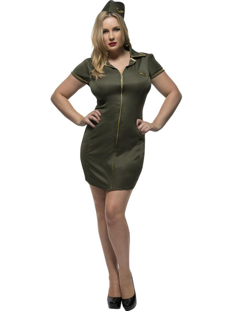 2-PC-Women's-Army-Military-Green-Dress-&-Hat-Party-Costume---Plus-Size