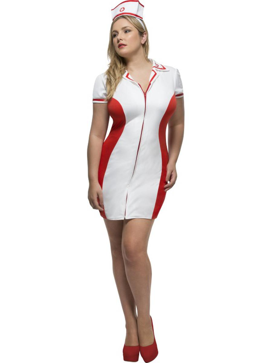 2-PC-Women's-Nurse-White-Dress-w/-Headpiece-Party-Costume---Plus-Size